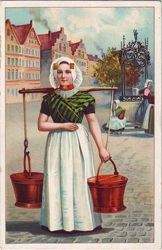 All sizes | chromo cacao francken dutch people series girl with milk pails | Flickr - Photo Sharing!