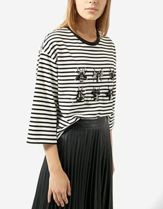 Striped T-shirt with gems - T-shirts | Stradivarius Romania