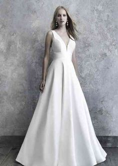 Shop the wonderful Madison James Soft Mikado A-Line Wedding Dress Wedding Dress today! Timeless soft Mikado is covered in nothing more than an endless row of elegant buttons down the train. Wedding Dress Pictures, Wedding Dress Styles, Designer Wedding Dresses, Bridal Dresses, Wedding Gowns, Bridesmaid Dresses, Designer Gowns, Wedding Bells, Party Dresses