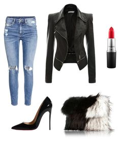 """""""Faux real?"""" by tyra-breann on Polyvore featuring H&M, Christian Louboutin, River Island and MAC Cosmetics"""