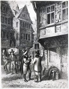 Street scene during the Plague of London, London Art, Old London, London Street, Vintage London, Great Fire Of London, The Great Fire, London History, British History, London Drawing