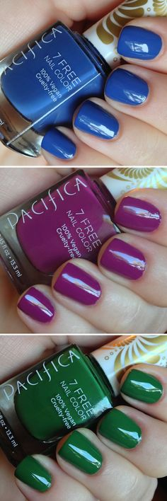 I have all three of these colors. This polish is amazing! Fast drying, long lasting, rich shiny colors.