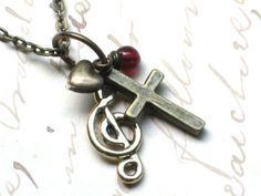 Music and Faith Necklace in Antique Bronze Cross by InGodsHands,