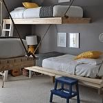 Cute idea for the twins' bedroom - charcoal gray walls yellow lamp hanging platform beds yellow pillows blue step ladder Ikea Bekvam Step Stool Adorable boys' bedroom