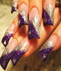 Glittery Purple Nail Art For Long Nails *for when you need to gauge your eyes out in style. Or feel your brain.*