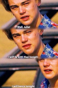 """""""Romeo + Juliet"""" (1996) >> Leonardo DiCaprio, Jesse Bradford, & Jorge Abraham    (Balthasar) """"Your looks are pale and wild and do import some misadventure."""" (Romeo) [calms down] """"No matter. Well, Juliet… I will lie with thee tonight. I will hence tonight."""" [gets into the car, & Balthasar joins him; they both make haste for Verona, & the Poste Haste Delivery Man FINALLY walks toward Romeo's camper, but it's too late!]"""