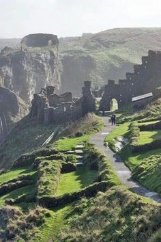 The ruins of the 13th century Tintagel castle in Cornwall, England.