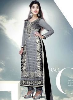 Black And Grey Viscose Georgette Hand Work Churidar Suit