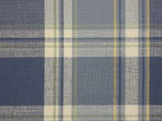 Kravet Blue Shades Plaid Off White Yellow Cotton Drapery Sewing Fabric