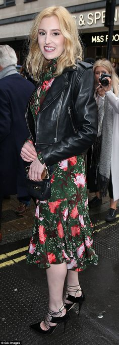 Pretty as a petal: Laura Carmichael too favoured a flirty floral-printed frock which skimmed her slender calves Lace Midi Dress, Sequin Dress, Laura Carmichael, Ankle Boots Dress, Erdem, Keira Knightley, Alexa Chung, Frocks, Calves