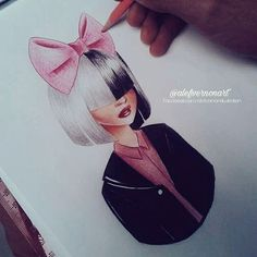 draw, drawing, and ️sia image Amazing Drawings, Cute Drawings, Drawing Sketches, Art And Illustration, Illustrations, Music Drawings, Disney Drawings, Sia And Maddie, Art Manga