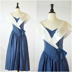 Vintage Dance-Allure navy blue and white nautical bow dress / shawl collar party dress