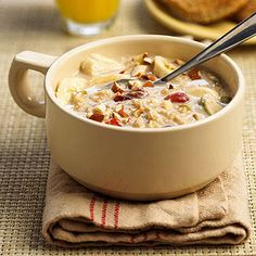 Flavored with dried fruits, honey, and spices, this oatmeal can be prepared up to three days ahead, so virtually no morning prep time is required. When you're ready for breakfast, your breakfast is ready for you.
