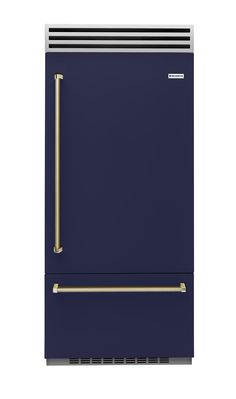 BlueStar introduced its first line of refrigerators at the Architectural Digest Design Show, looking cool in this deep navy hue.