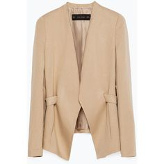 Zara Blazer With Lapel ($100) ❤ liked on Polyvore featuring outerwear, jackets, blazers, blazer, light camel, lapel jacket, zara jacket, beige blazer, camel jacket and beige jacket