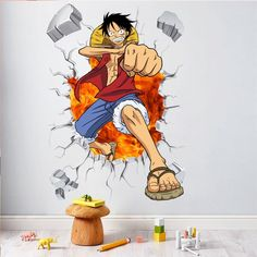 One Piece Anime Comic Luffy Breack Wall Window Wall Stickers Decals Vinyl Decoration Fashion Decor For Kids Boys Bedroom Art Anime One Piece, One Piece Luffy, Wall Stickers Japanese, Window Mural, Break Wall, 3d Art, Kids Room Wall Decals, Anime Store, Pvc Wall