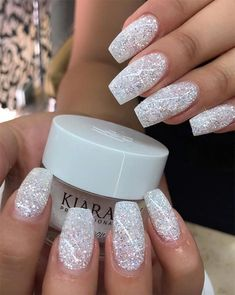 Here's everything you need to know about SNS or dip powder nails, from the best SNS nail colors to how you can get powder nails done at home, to the pros and cons of SNS nails. Cute Acrylic Nails, Cute Nails, Acrylic Nail Designs Glitter, Sparkle Acrylic Nails, Christmas Acrylic Nails, White Acrylic Nails With Glitter, White Chrome Nails, White And Silver Nails, Clear Glitter Nails