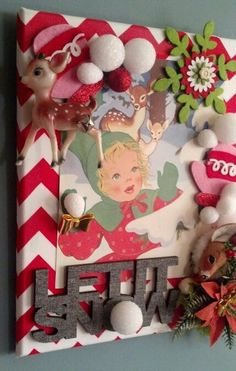 UpCycled Vintage Christmas Print and Decorations Made Into Wall Art. By Z Amore Minneapolis MN. Christmas/Winter