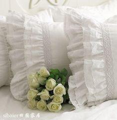 新款**豪华重工艺绣花蕾丝荷叶边贡缎纯棉 全棉 枕套(含1件)