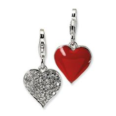 Sterling Silver 3-D Cz & Red Enamel Heart W/Lobster Clasp Charm Amore La Vita. $25.95. Save 66% Off!