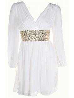 Sleeve chiffon dress with sequin waist detail and V-shape back34