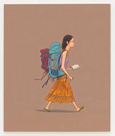 Com um guia na mão ou suas anotações a mochileira segue viagem | Foto: Divulgação.