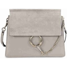 Chloe Faye Medium Leather Clutch - Motty Grey ($1,245) ❤ liked on Polyvore featuring bags, handbags, clutches, gray handbags, grey clutches, grey purse, real leather purses and grey handbags