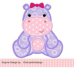 Girly Hippo 02 Applique -4 x 4 5 x 7 6 x 10-máquina bordados apliques diseño