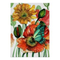 """Poppies with Blue Butterfly Poster by Cherie Roe Dirksen ($27.95 for a large poster - 20"""" x 28"""")  #poppyprint #floralprint #butterflyprint #poppyart #poppy #butterfly"""