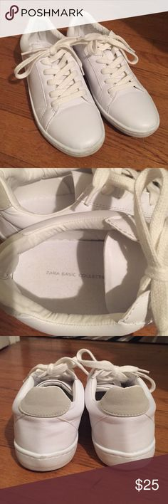 • ZARA • white sneakers Zara Basic white sneakers. Worn once for a few hours. In excellent, new condition- as seen in the photos! Bought new a few months ago! Size 37. Zara Shoes Sneakers
