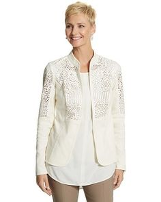 Chico's Geometric Perforated Mix Jacket #chicos