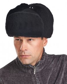 8fa9985f12e Black Mouton Sheepskin Russian Ushanka Hat Trooper Hat