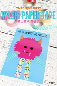 ADORABLE WASHI PAPER TAPE BUSY BAG- Free Printables ♥