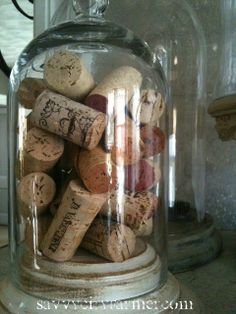 Cloche with wine bottle corks