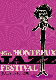 45th Montreux Jazz Festival - 2011 (Miles illustrated) Festival Jazz, Montreux Jazz Festival, Festival Posters, Concert Posters, Music Posters, Saul Bass, Jazz Poster, Blue Poster, Jazz Artists