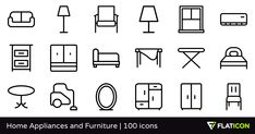 100 free vector icons of Home Appliances and Furniture designed by #CursorCH #ChamIcon http://www.flaticon.com/packs/home-appliances-and-furniture