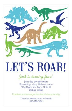 Rosanne Beck #Dinosaur Silhouettes Invitation : Personalized Birthday Invitations & Cards Dinosaur Birthday Invitations, Personalized Birthday Invitations, Dinosaur Birthday Party, Boy Birthday Parties, 4th Birthday, Birthday Ideas, Dinasour Birthday, Dinosaur Silhouette, Hotel Party
