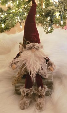 Santa - Tan and Cranberry Cottage Christmas, Christmas Gnome, Primitive Christmas, Christmas Crafts, Christmas Ornaments, Christmas Ideas, Christmas Decorations, Gnomes For Sale, Crafty Craft