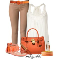 Great street look! Love the brown skinnies, white blouse and coral sandals! ( Too Parrot - Coral 2 Lips Too)
