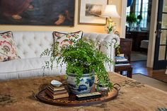Nell Hill: Blue and White Pottery Brings Timeless Beauty to Decor Upholstered Ottoman, Tufted Sofa, Blue And White China, Blue China, Coffee Table Vignettes, Living Spaces, Living Room, Decorating Blogs, Timeless Beauty