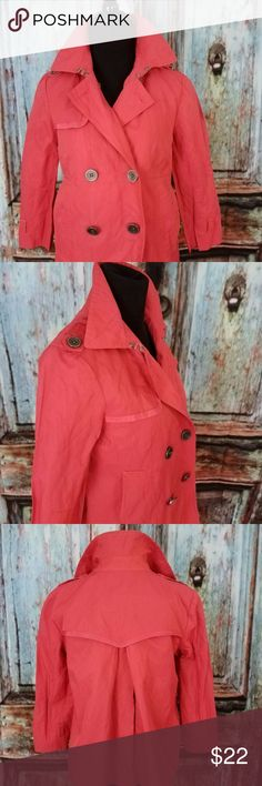 """Coral Double Breasted Raincoat trench Sz S MARTIN+OSA Nordstroms women's Coral Double Breasted Trench raincoat Jacket. Sz. Small in excellent pre-loved condition! Please review the photos for greater detail. Please refer to the following measurements to ensure the perfect fit.   Bust 18""""  Length 22""""  Sleeve length from shoulder to cuff 19"""" MARTIN+OSA Jackets & Coats Trench Coats #RaincoatsForWomenFit"""