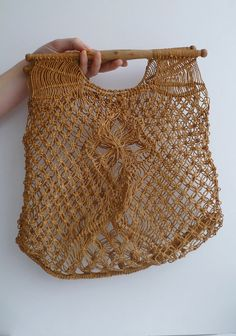 1960s macrame string shopping bag with wooden handles