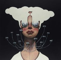 Afarin Sajedi is an Iranian artist with a unique style of painting. She creates mostly surreal portraits that are known for expressing deep emotion. Most of the portraits are portraits of powerful, alien-like women in pain.  They capture your attention with the darkness and intricate detail.