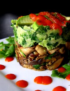 Compressed Wild Mushrooms & Avocado with Red Pepper Coulis - Raw & Vegan
