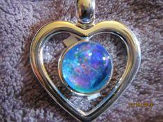 AQUA MARINE BLUE TEAL PINK GLASS SILVER DROP HEART PENDANT FREE CHAIN   Imaginative_Creations - Jewelry on ArtFire
