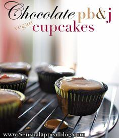Chocolate PB&J Cupcakes (vegan)