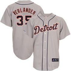 2014 Justin Verlander Detroit Tigers Grey Road Replica Jersey Men's – Detroit Sports Outlet