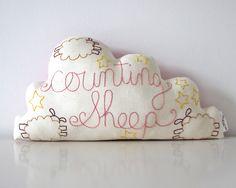 Cloud Cushion Handmade with Hand Embroidery. via Etsy.