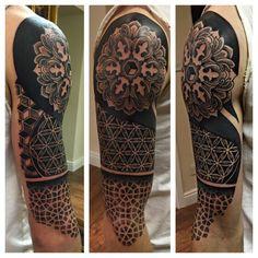 Geometric sleeve tattoo by Drew Romero #Tattoo #geometric #Sleeve
