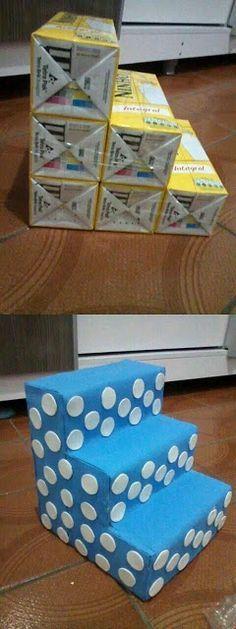 Mira Cómo Puedes Crear Un Exhibidor De Postres Usando Solamente Cajas De Leche… ¡¡¡Quedan Muy Bellos!!! | AprendeloTodo.com